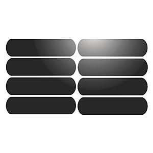 8 Bandes adhésives réfléchissantes pour signalisation sur casque 8x2 cm - Noir Réfléchissant