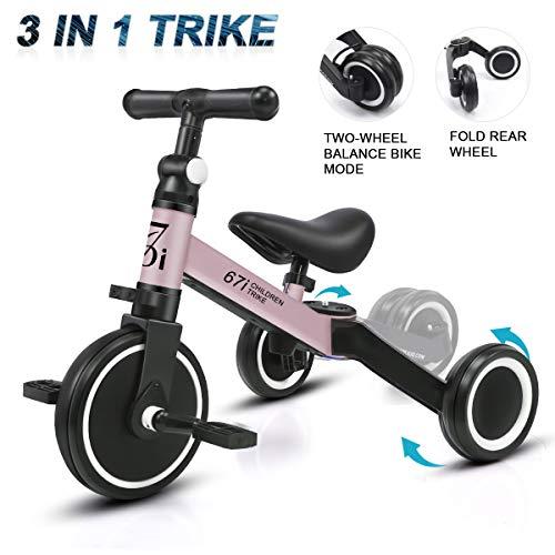 KORIMEFA Vélo Draisienne Tricycle pour Enfants 3 en 1 Premier Draisienne 3 Roues Entraînement d'Équilibre pour Filles Garçons Et Tout-Petits De 1-2 Ans (Rose)