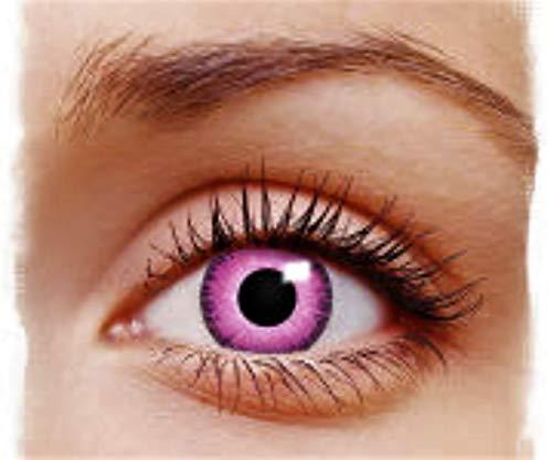PHANTASY Eyes® Farbige Kontaktlinsen, Ohne Stärke (PINK LUNATIC/EINHORN) Rosa Devil/Zombie/Cosplay/Manga/Dia de los Muertos- perfekt zum Halloween und Karneval, Jahres Linsen, 1 Paar crazy fun Contact linsen + Kontaktlinsenbelälter!