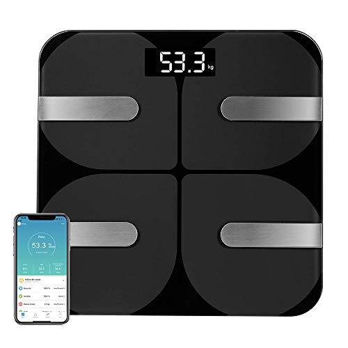 Coralov Bilancia per il grasso corporeo con APP, Bilance digitali Bluetooth personali Bilancia per il corpo per grasso corporeo, BMI, peso, massa muscolare, acqua, proteine, muscoli scheletrici, ecc.