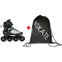 SET - METEOR® DIVERT Patines en Línea + ULTRAPOWER® Mochila de cordón | Niños | Mujer | Hombre | Inline Skates | Tamaños 30-33 / 34-37 / 38-41 | ABEC 7 Carbon, Tamaño:L (38-41), Color:Gray / Mint