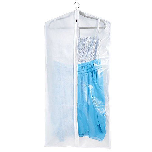 mDesign Funda para ropa – Práctica bolsa para guardar ropa de polipropileno, para proteger las prendas en los armarios o en viajes – Funda portatrajes con cremallera y ventana – blanco/transparente