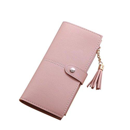 ESAILQ Simple femmes Portefeuille long Tassel Porte-monnaie carte de sac à main titulaires (Pink)