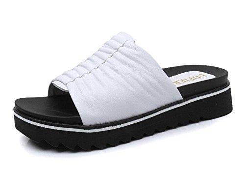 Damen Offene Zehe Sandalen Sommer Neue Leder Maultier Weibliche  Wasserdichte Plattform Dicke Untere Hausschuhe White