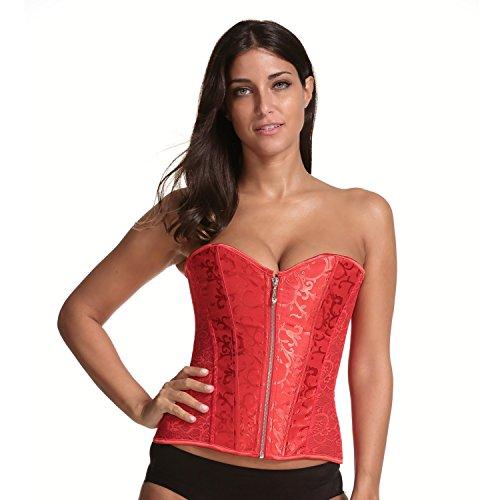 Miss Moly Korsett|Damen Sexy Korsage 14 Spiralstahlstäbe Transparente Spitze Design Mit G-String Schwarz/Weiß/Rot/Beige
