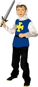 César - F203-003 - Traje Knight para niños - Azul - 8-10 Años