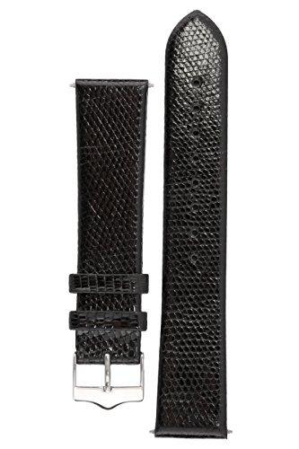 Signature Lizard Uhrenarmband. Ersatzarmband. Echtes Eidechsenleder. Edelstahl-Dornschließe (Schwarz, 18 mm)