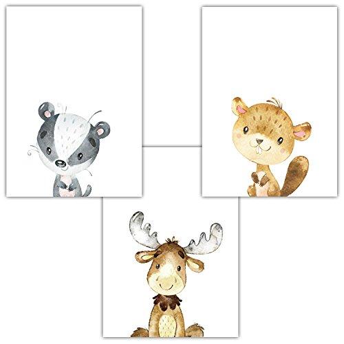 Frechdax® 3er Set Kinderzimmer Babyzimmer Poster Bilder DIN A4 | Waldtiere Portrait | Bär Fuchs REH Eule | Mädchen Junge Deko | Dekoration Kinderzimmer (3er Set Biber, Hirsch, Dachs)