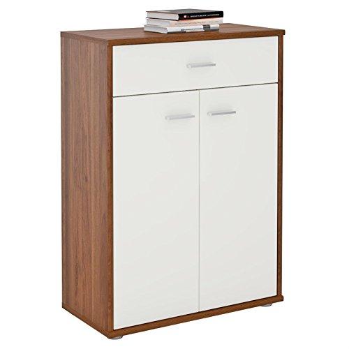 CARO-Möbel Kommode Sideboard Schrank Tommy in nussbaum/weiß, Anrichte Highboard mit Schublade und 2 Türen