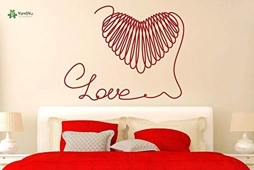 zhuziji Decalcomania da Muro in Vinile Love String Line Forming Heart Shape Adesivi per la Decorazione della casa di Arte Semplice Camera da Letto