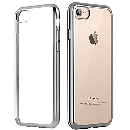 IPhone 7 Case (4.7 inch) ,koala group Plating metal frame TPU soft case Ultra-Thin Shock Resistant transparent protective case (Gold) Sliver