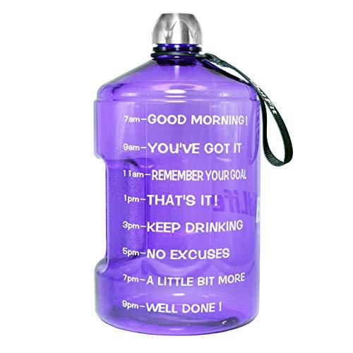 QuiFit Wasserflasche, wiederverwendbar, auslaufsicher, für Outdoor, Camping, BPA-frei, Kunststoff, mit Tageszeitmarkierung, 2.2L/Amethyst, 73oz - Auto Waschen Gallone