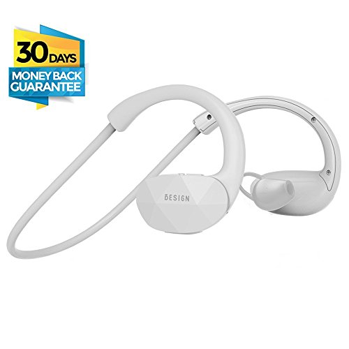 Besign SH01 Auricolari Wireless Bluetooth 4.1 Headset Stereo Cuffie Sport con Microfono e Headphone per iPhone 6s plus/6s, iPhone 6/6 Plus, iPhone 5s/5c/5/4s, iPad, LG G2, Samsung Galaxy S6 Edge+/S6 Edge/S6/ S5/S4/S3, Note 4/Note 3/Note 2, Sony, Huawei ed altri Smartphone (Bianco)