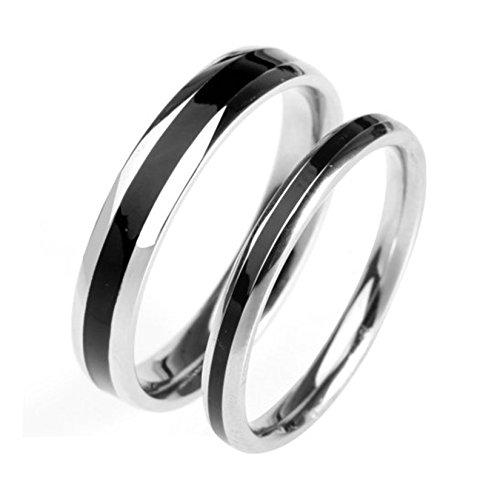 Bishilin Paarepreis Edelstahl Ringe Paare Männer Frauen Hochglanzpoliert Rund Hochzeitsring Paarringe Silber Schwarz Demen Gr. 49 (15.6)&Herren Gr. 52 (16.6) (007 Kostüme Für Frauen)