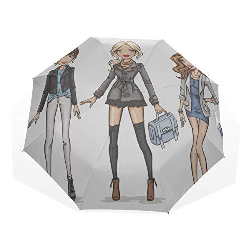Reiseregenschirm DREI schöne und reizende Mädchen Anti Uv Compact 3-Fach Kunst Leichte Faltbare Regenschirme (Außendruck) Winddicht Regen Sonnenschutzschirme Für Frauen Mädchen Kinder