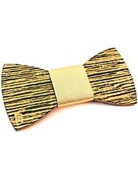GIGETTO Papillon in legno di wenge (dimensione small), con nodo in ecopelle oro, cinturino regolabile