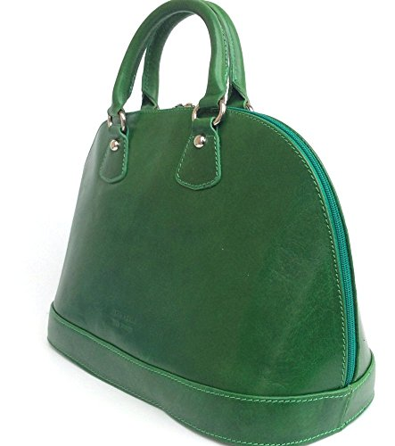 SUPERFLYBAGS Borsa Bauletto in vera pelle Tamponato modello Madrid Made in Italy verde