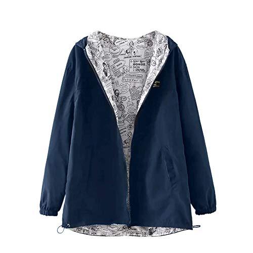 MEIbax Damen Langarm Einfarbig Trenchcoat Hooded Zipper Taschen Casual Pullover Sport Mantel Outwear
