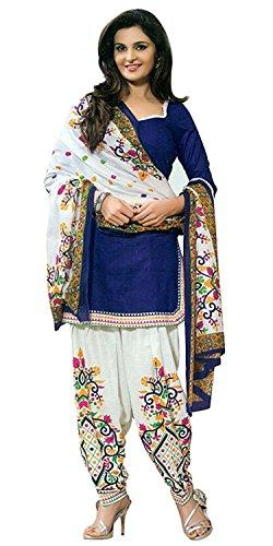 Rensila Women's Blue Cotton Dress Material