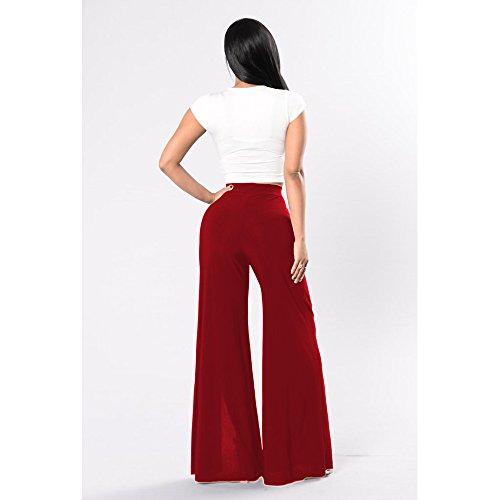 BOZEVON Donna Alta Vita a Colori Solidi Tempo Libero Gamba Pantaloni Larghi Rosso