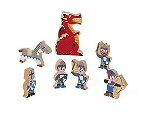 Janod Mini Story set de Figuras de madera, Caballeros (J08513)