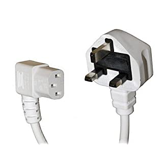 Auline 3m White Mains Cable with 90 Degree Kettle Plug UK Plug to Right Angle Angled C13