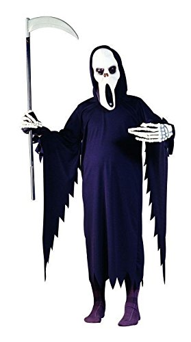 (Foxxeo 10214 | Horror Kostüm für Kinder Geist Sensemann Gespenst Horrorkostüm Sensenmann Todkostüm Geistkostüm für Kinder Gr. 116-170, Größe:134/140)