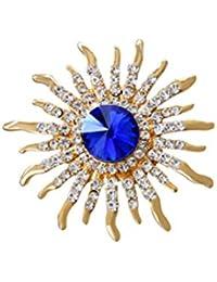 OULII Pin del broche de la flor del sol delicado Fahsion Crystal Sun Breastpin para las mujeres
