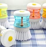 Vepson 3 Pcs Cleaning Brush Soap Liquid Dispenser (Multicolor)