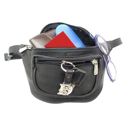 Piel Leather Los viajeros Un tamaño Deporte Bolsa de cintura, 23 cm, Negro