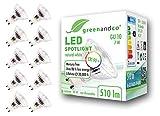 10x greenandco® CRI90+ LED Spot 4000K neutralweiß ersetzt 60 Watt GU10 Halogenstrahler, 7W 510 Lumen SMD LED Strahler 36° 230V AC, nicht dimmbar, flimmerfrei, 2 Jahre...