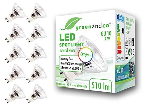 10x Spot a LED greenandco® IRC 90+ 4000K GU10 7W (equivalente spot alogeni 60W) 510lm (bianco neutro) SMD LED 36° 230V AC vetro, nessun sfarfallio, non dimmerabile