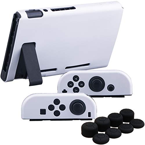YoRHa Handgriff Silikon Hülle Abdeckungs Haut Kasten für Nintendo Switch/NS/NX Joy-Con Controller und Tablette (Silber Pack) mit Joy-Con Aufsätze Thumb Grips x 8 Silikon Skin Pack