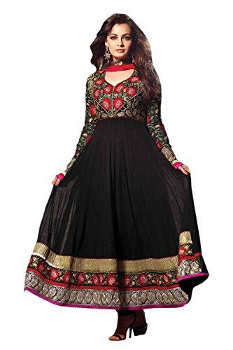 Variation Black Latest Designer Heavy Embroidered Work Anarkali Semi Stitched Salwar Kameez...