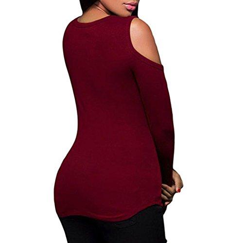 LuckyGirls Womens Slim Bretelles Blouse V-Neck Bandage T-Shirt à Manches Longues Tops Rouge