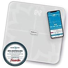 Medisana BS 450 Connect Bilancia Digitale per Analisi Corporea 180 Kg, Bilancia Personale per la Misurazione del Grasso Corporeo, Acqua Corporea, Massa Muscolare e Peso Osseo con App