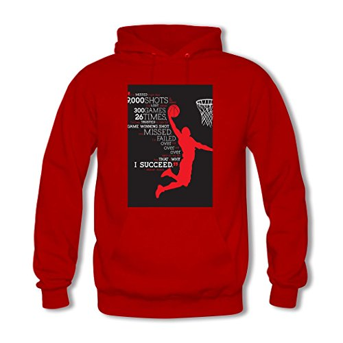 HGLee Printed Personalized Custom basketball Classic Women Hoodie Hooded Sweatshirt Red--1