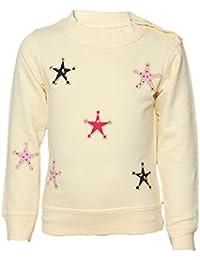 Tales & Stories White Cotton Printed Crew Neck Sweatshirt for Girls