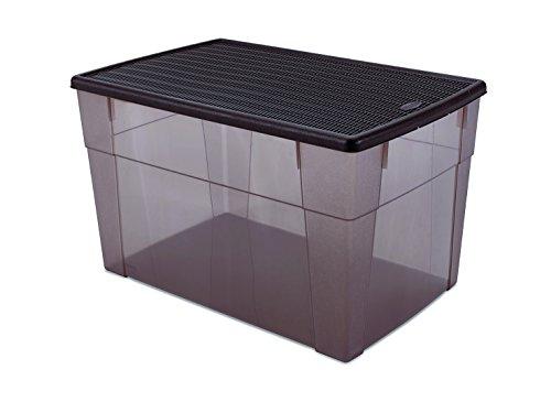 Kreher XXL Aufbewahrungsbox Elegance mit Nutzvolumen ca. 62 Liter. in schönem Transparent/Braun mit Deckel in Rattan Optik. Maße ca. 59 x 39 x 35 cm