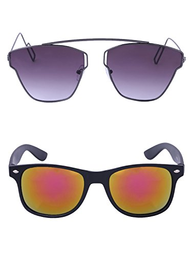 Amour-propre AmourPropre Multicolor UV Protected Unisex sunglasses Pack of 2_(AM_CMB_LP_3036)