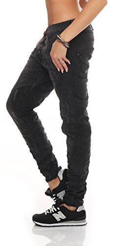 SKUTARI Damen große Größen Boyfriend-Jeans Reißverschluss Knopfleiste Schwarz 2