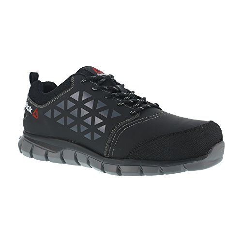 Reebok lavoro IB1032 S3 46 Excel Light Athletic Safety Trainer shoe, punta in alluminio, parte superiore in microfibra, taglia 46, nero