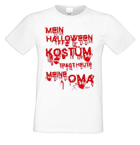 (Mega Gruseliges Halloween-Herren-Fun-T-Shirt als Geschenke-Idee Motiv: Mein Halloween Kostüm trägt heute meine Oma Farbe: weiss Gr: L)