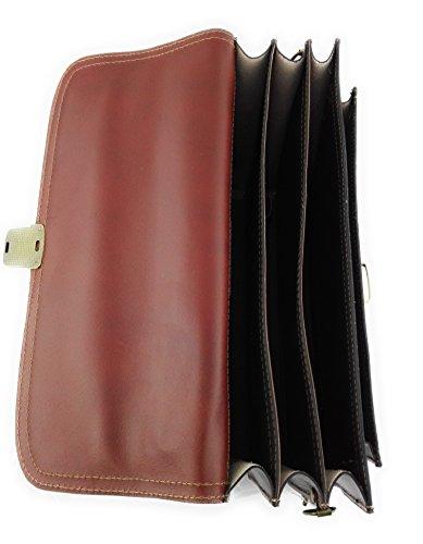 Zerimar Borsa Valigetta realizzata in pelle bovina di alta qualità SALDI- ORA O MAI Più compartimenti Misure 40x30x13 cms Colore Cuoio