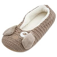 Slumberzzz Ladies Knitted Pet Character Ballet Slippers