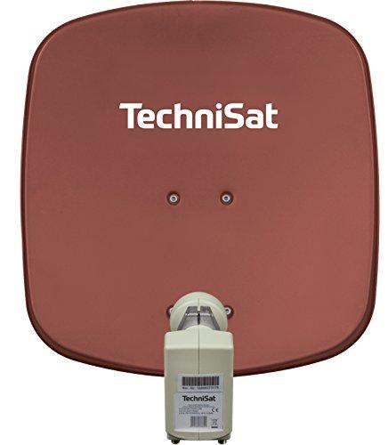 TechniSat Digidish 45 Satellitenschüssel (45 cm kleine Sat Anlage mit Wandhalterung und Universal V/H Single-LNB für 1 Teilnehmer - inkl. An-Rohr-Fitting zur Montage am Mast (30-63 mm)) rot