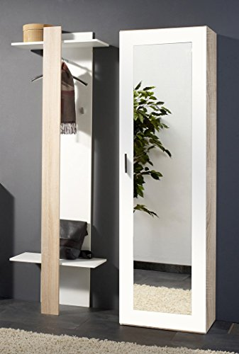 Expendio 44849057 Garderoben Set 2-teilig, MDF  Spannplatte, weiß, 35 x 100 x 195 cm