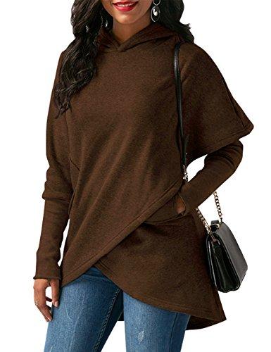 WAJAT Winter Damen Hoodie Sweatshirt Asymmetrisch Kapuzenpullover Braun