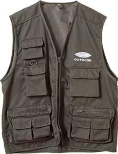 Fladen Outdoor Gilet de pêche à 11 poches Vert Olive X Large
