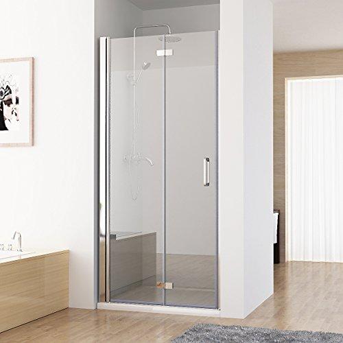 Nischentür Duschabtrennung 180° Schwingtür Falttür Duschwand Dusche NANO Echtglas 100 x 197 cm